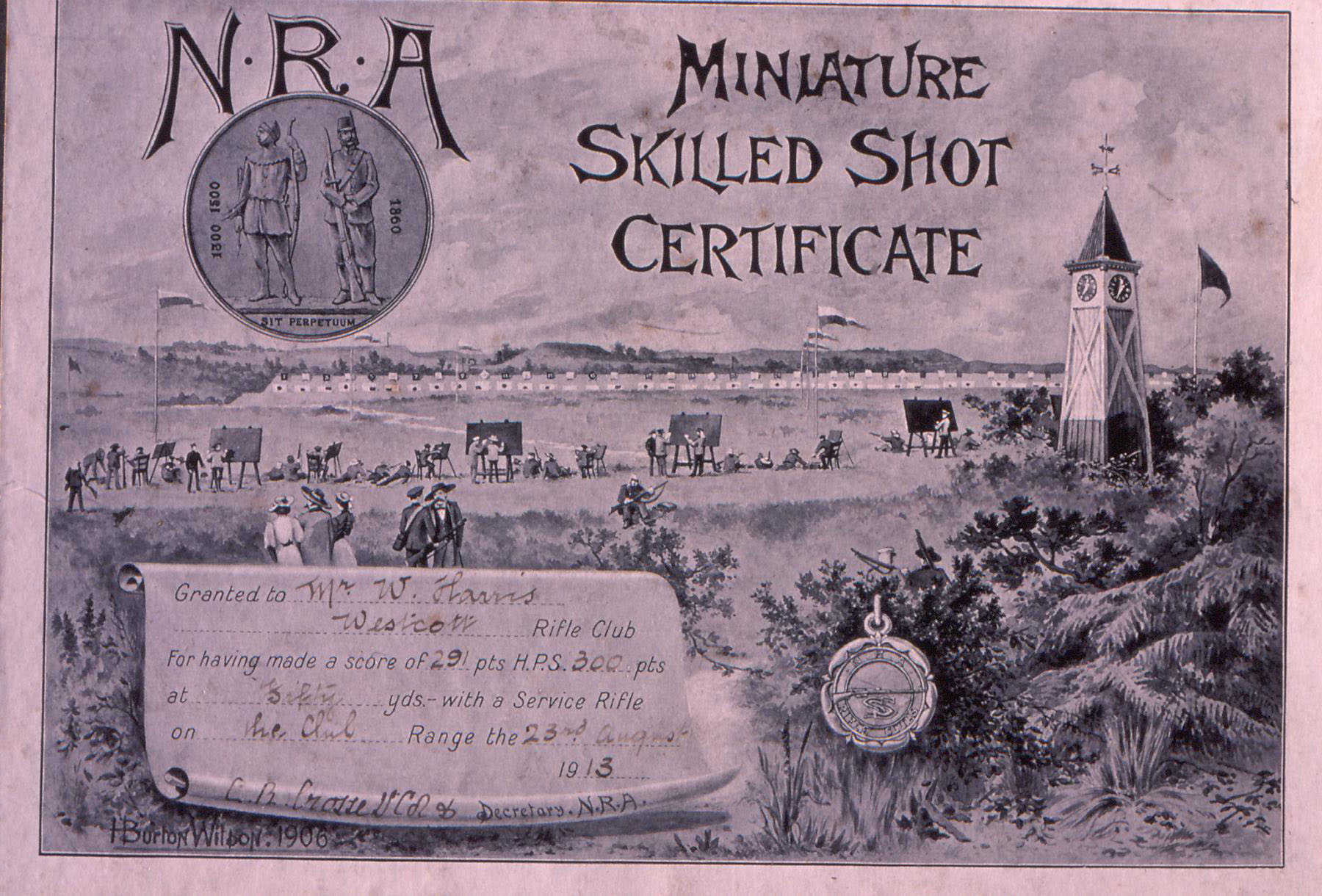 N.R.A. Miniature Skilled Shot Certificate awarded to W. Harris 1913